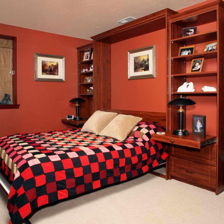 Пространство Сохранение Как построить шкафы Строительство Двойной полный размер Вдохновение Мерфи кровати IKEA Художественный дизайн Идеи Хьюстон Висячие Скрыть Простые спальни Стены блоков Бункер Король с оранжевой стены