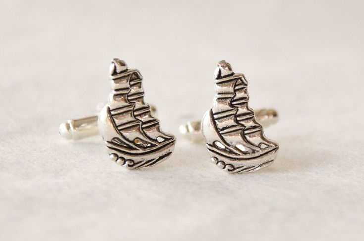 Clipper Ship Cufflinks, Nautical Cuff Links Set, Boating Gift for Men, Sailboat Cfflinks, Ship Accessories, Nautical Gifts for Men by SmittenKittenKendall on Etsy