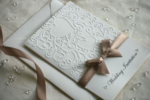 SAMPLE Embossed Wedding Invitation with Organza / Satin Ribbon & diamantés  - cart-us ornamental hearts