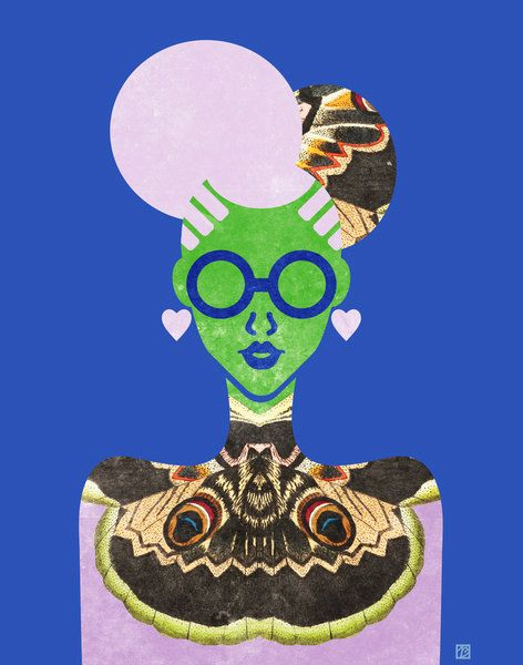 Falena Cheongsam signora stampa (arte cinese retrò alta moda, blu e verde donna in abito ala) 5x7, 8x10, 11 x 14