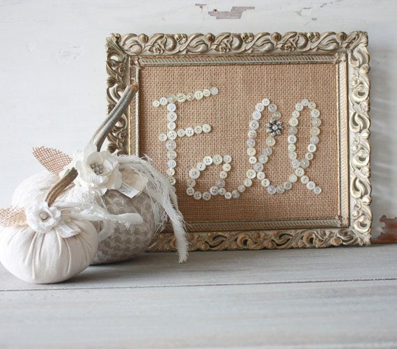 Buttons and Burlap Fall Decor in Vintage Frame