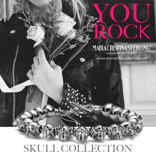 YOU #ROCK. Maria Cristina Sterling #SKULLCollection.  #Gioielli in #argento dal carattere forte ma raffinato, per rimanere glam con un tocco di energia in più! SKULL Collection disponibile sullo shop online: http://shop.mariacristinasterling.it/collezioni/bracciale-skull-argento-2/