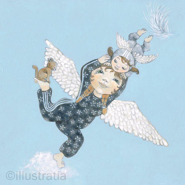 Acrylschildering op paneel 30x30 cm. Uit de 8-delige serie: 'angelical antics.' titel: 'up and away'