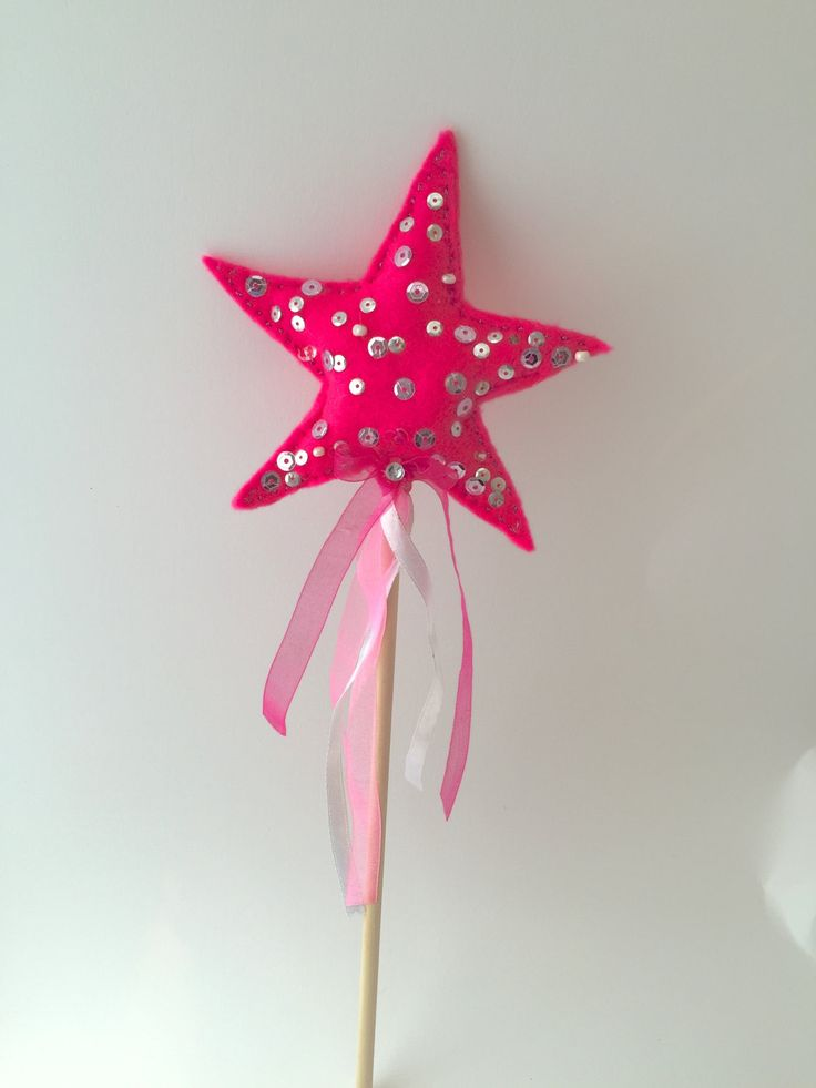 Bright Pink Felt Handmade Girls Sparkle Fairy / Princess Star Wand With Sequins, Beads and Ribbons Ideal for girls dress up - (Code:0021) by ThinkingofEvelyn on Etsy