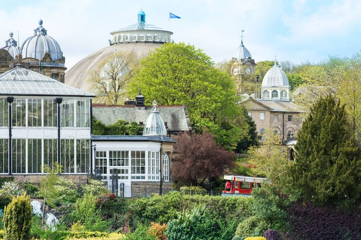 The wonderful Buxton, Derbyshire. Photographed across the beautifully tended Pavilion Gardens, through to the architecture of the Buxton Opera House and the Devonshire Dome.