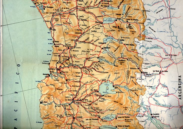 Ferrocarriles del Estado (Chile); Estaciones desde Quepe y Cunco (Cautín, Araucanía) a Sagllúe (Osorno, Los Lagos). Mapa de Guía del Veraneante 1953 FF.CC del E. – Chile.  Autor : Rulf.