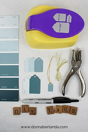 I needed price tags for a craft show, but wanted to keep with the colours of my branding. I found a great way to DIY my own tags using upcycled paint chips! | www.donnaberlanda.com