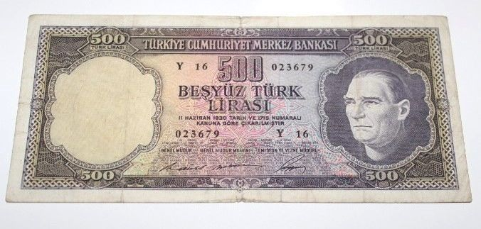 TURKEY 5. EMISSION 4 ISSUE 500 LIRA