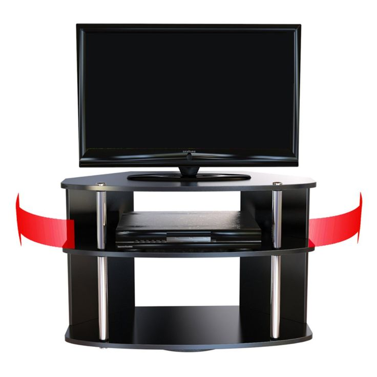 convenience concepts designs2go swivel tv stand black and stainless steel swiveling a full