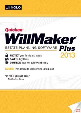 Quicken WillMaker Plus 2013 is an easy way to create your estate plan, whether it's your first time or you want to update a previous plan. You'll be guided through the process from beginning to end with practical and relevant legal information so you can make the best decisions for you and your family.   Price: $46.43  Your #1 Source for Software and Software Downloads  Ultimatesoftwaredownload.com