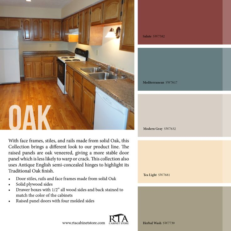 Color palette to go with our Oak kitchen cabinet line. Wall Color For Oak  CabinetsKitchen ...
