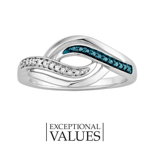 Fred Meyer Jewelers | 1/10 ct. tw. Enhanced Blue and White Diamond Ring