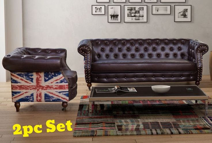 Retro chesterfield sofa set 3 seater armchair leather for Studded sofa sets