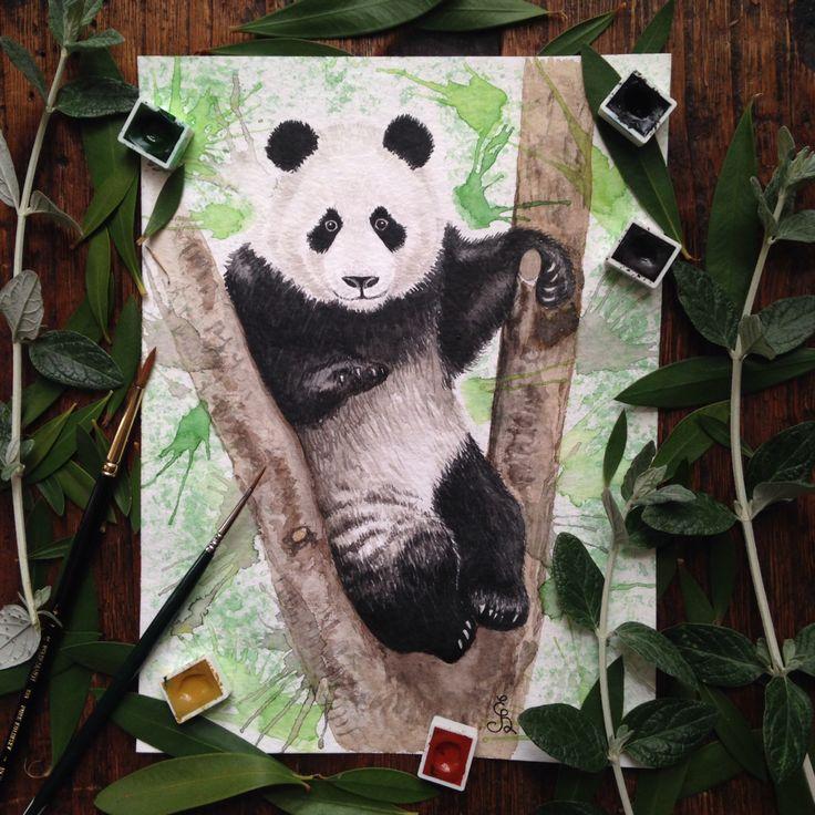 Panda on the tree watercolor painting by Eli Bichita