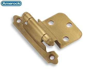 #3428 Amerock Self-Closing Hinge, Face Mount, 3/8 Inset, Gilded Bronze (Sold as Pair)