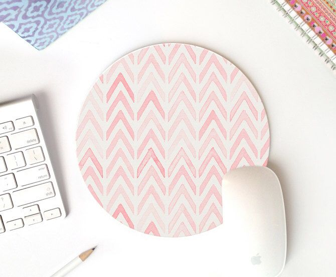 pink mousepad round mousepad mouse pad chevron mouse pad tribal mouse pad cute desk