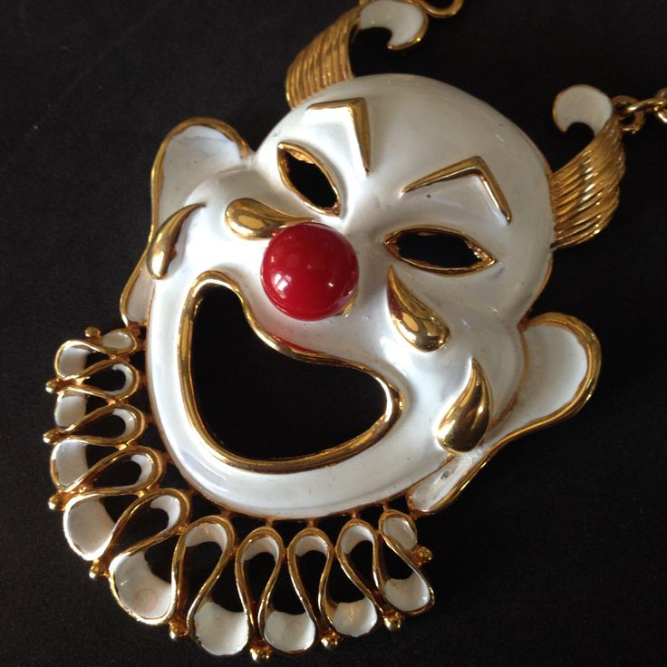 Rare Signed Vendome Harlequin Clown Pendent Necklace – 1960s MOD Jewelry by medusacurls on Etsy https://www.etsy.com/listing/225445406/rare-signed-vendome-harlequin-clown
