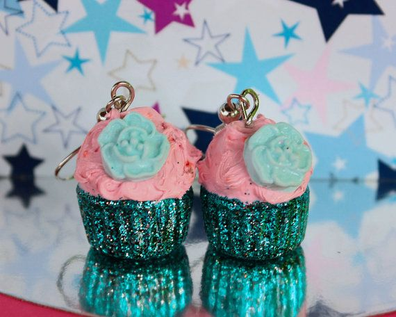 Glitter candy cupcake earrings by TinkyPinky on Etsy