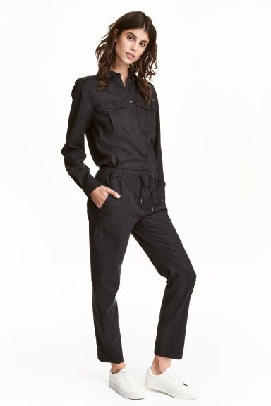 Lyocell-blend jumpsuit - Black - Ladies | H&M GB