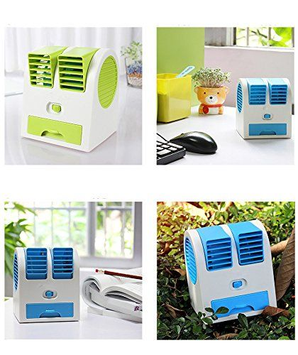 Drumstone Mini Portable Dual Bladeless Small Air Conditioner Water Air Cooler Powered by USB & Battery With 1amp Usb Power Wall Adapter & Fiber 3 in 1 USB Charging Cable Compatible with Xiaomi Lenovo Apple Samsung Sony Oppo Gionee Vivo...