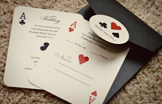 Faire-part Pocker    avec des carte de réponse : vient ou vient pas au mariage