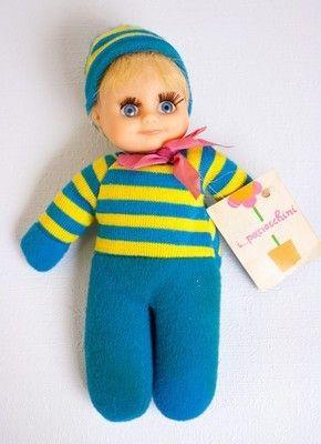 "Greek Paciocchini 6"" bean bag baby doll El Greco w/ tag cute face vtg matchbox (07/06/2012)"
