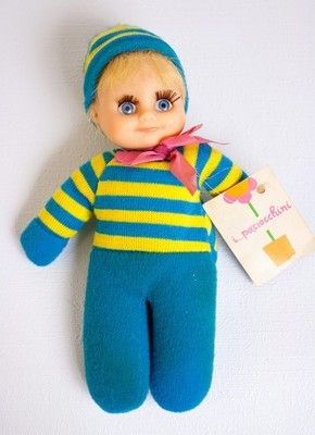 "Greek Paciocchini 6"" bean bag baby doll El Greco w/ tag cute face vtg matchbox (07/06/2012)"