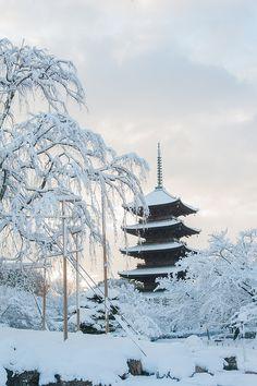 Snow in five storz pagoda of To Ji Temple,Kioto,Japan
