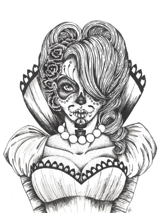 Day Of The Dead Adults Coloring Page Printable