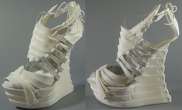3D printed Exoskeleton shoes ain't meant for walking! by Janina Alleyne, a UK-based fashion footwear designer. She used a 3-D printer!