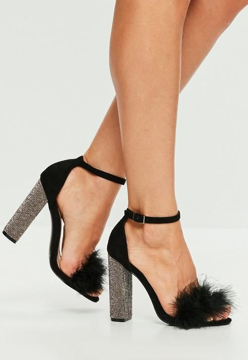 4bbeb30e1 Black Feather Glitter Block Heeled Sandals | Shoes envy | Heels ...