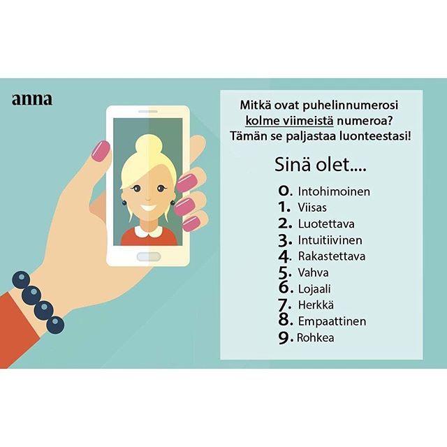 Mitä sait tulokseksi? ♀️ #Anna #testi #päivänpiristys #hauskaa #puhelin #numero #rohkea #viisas #herkkä #lifestyle #hyvämieli
