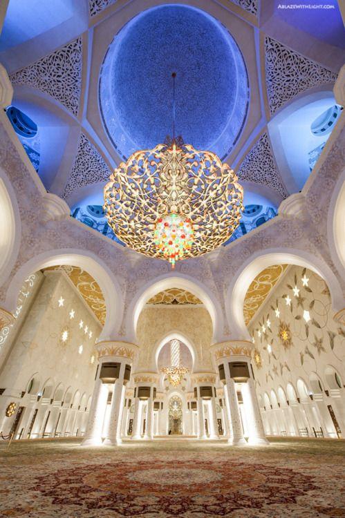 ablazewithlight: Inside Sheikh Zayed Grand Mosque in Abu Dhabi.