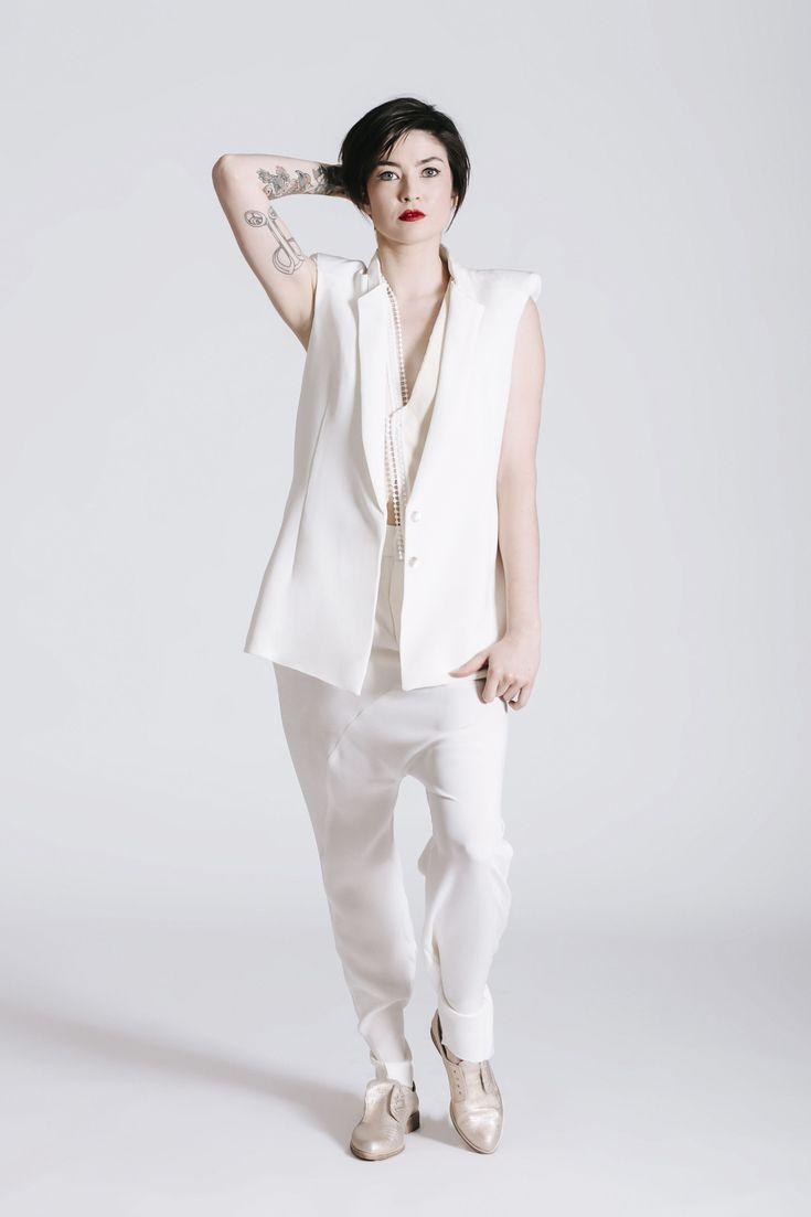 Androgynous Style. Women's White Wedding Suit. Same-sex wedding idea. THE NEW BRIDE non wedding dress.