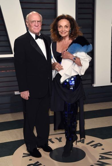 Vanity Fair Oscars party 2017: the red carpet: Barry Diller and Diane von Furstenberg wearing DVF.