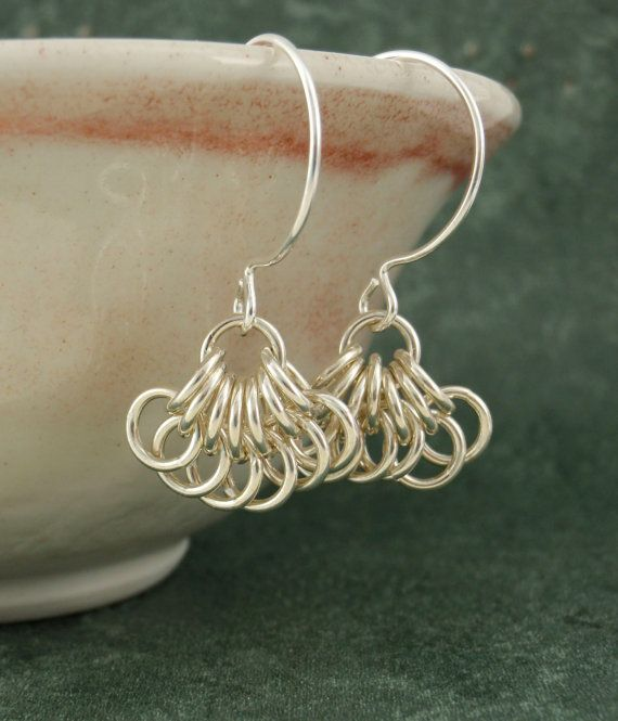 Sterling Silver Petite Earrings - You Don't Bring Me Flowers Chainmaille Dangles. $40.00, via Etsy.