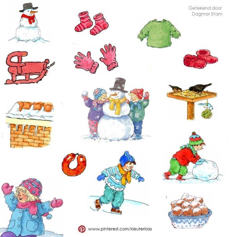 Plaatjes thema 'Winter' (tekeningen van Dagmar Stam)