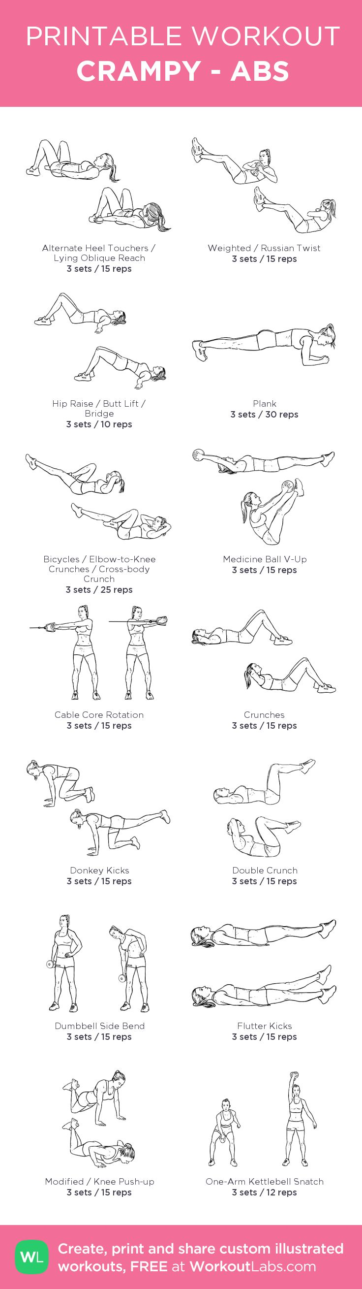 CRAMPY - ABS: my visual workout created at WorkoutLabs.com • Click through to customize and download as a FREE PDF! #customworkout