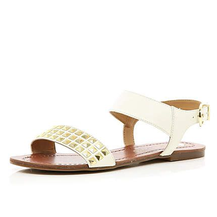 White studded panel sandals - River Island