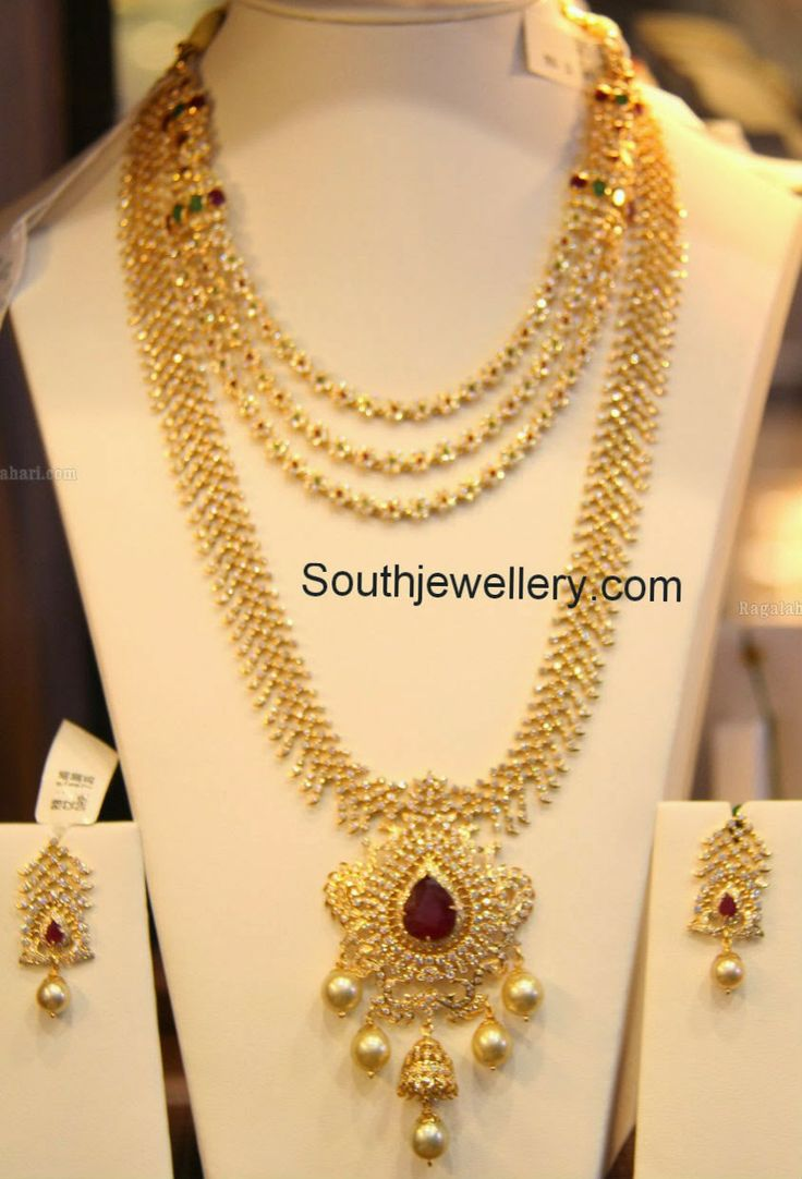 diamond necklace and haram set