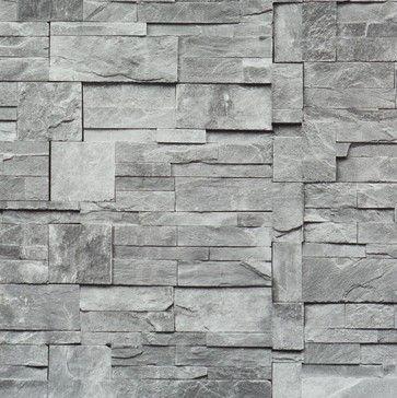 Faux Stone Wallpaper, Grey, Sample - modern - wallpaper - Walls Republic