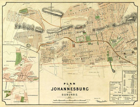 Johannesburg map  South Africa, now fully restored.