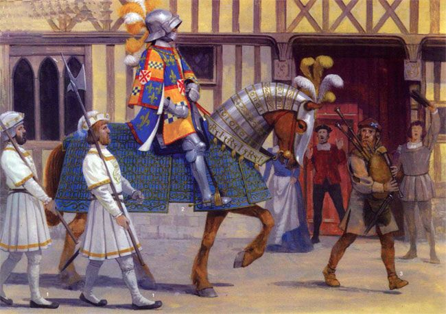 Командир шотландских гвардейцев Роберт Стюарт, владетель д'Обиньи, во время вьезда Франциска I  для коронации в Париж в январе 1515 г. Реконструкция вооружения основана на фресках, сделанных  в 1520 г. в Шато-де-ла-Веррери, Обиньи-сюр-Нер. Согласно описаниям современников, королевских  телохранителей было 24, вооружены они были алебардами, носили белые куртки с золотой отделкой,  белые чулки и шлемы с белыми плюмажами. У одного из них шлем прикрыт беретом. Куртка, доходящая  до колена, имеет…