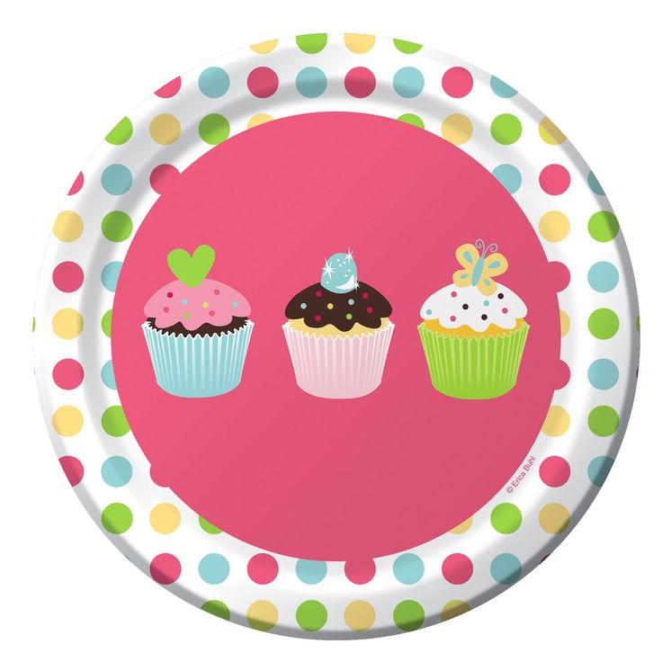 Sweet Treats Dessert Plates (8) . Load your plate up with yummy cupcakes and other delicious goodies with these sweet plates adorned with cute cupcake pictures.  (8 pcs. per set) 17.8cm