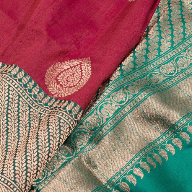 Handwoven Banarasi Kadhwa Tussar Silk Saree With Floral Butis 10020369