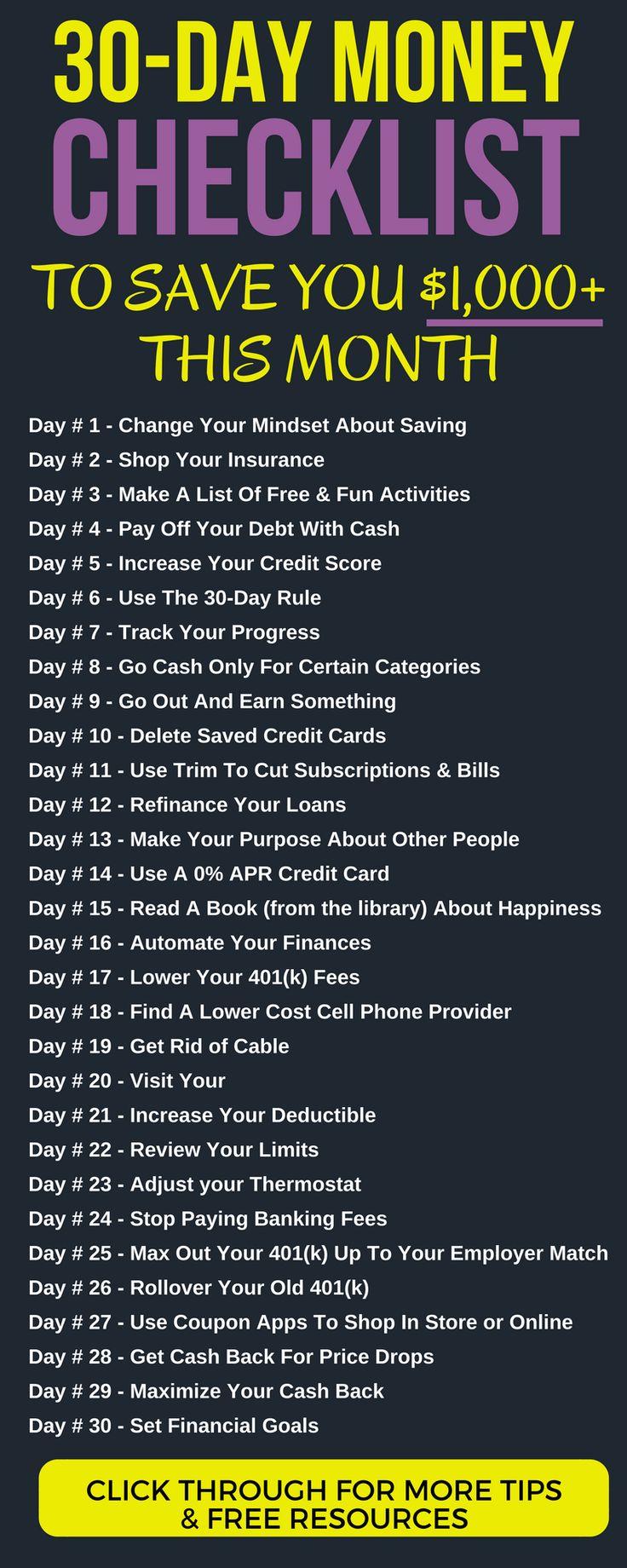 Sparen Sie diesen Monat 1.000 USD GELD HERAUSFORDERUNG: 30 Tage, 30 verschiedene Aktionen. Geld…   – SAVE MONEY: General Thrift & Frugality
