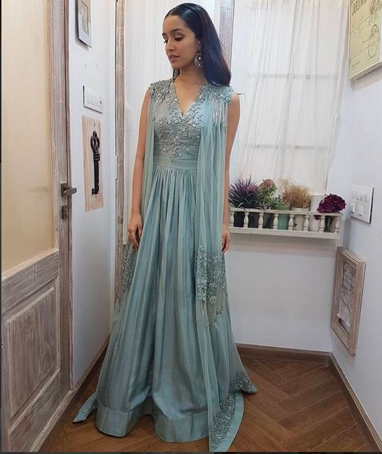 ShraddhaKapoor looks stunning in  sea blue, embellished jacket anarkali, Mia for promotions of HalfGirlfriend today!