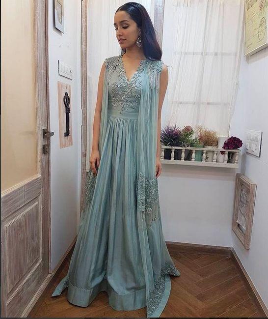 ShraddhaKapoor looks stunning in  sea blue, embellished jacket anarkali, Mia for promotions of HalfGirlfriend today! 🌿