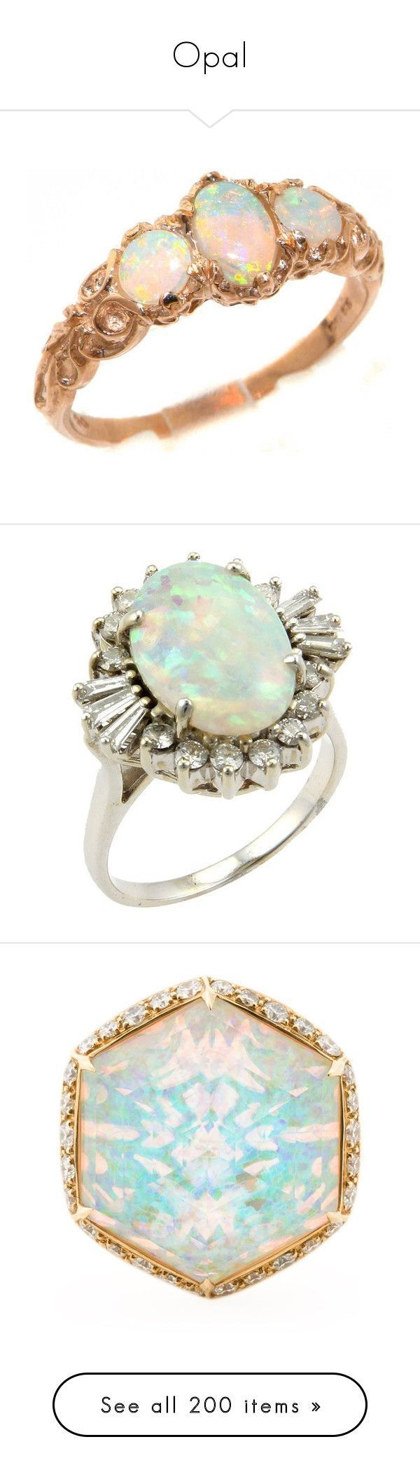 """""""Opal"""" by twinkle-twin ❤️ liked on Polyvore featuring jewelry, rings, accessories, rose gold opal ring, 14k ring, pink gold engagement rings, anniversary rings, eternity rings, colorful diamond rings and white gold diamond rings"""