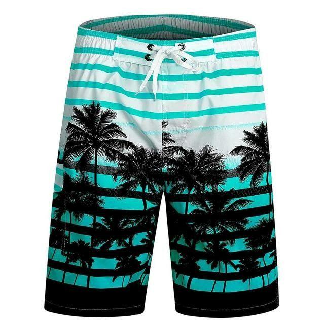 Mens Swim Trunks Ocean Waves Aqua Quick Dry Beach Board Shorts with Mesh Lining